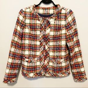 Lands End Blazer Plaid Tartan Wool Tweed